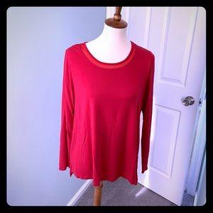 Red Tahari Long Sleeve Top